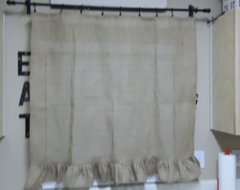 Custom Made Burlap Curtains Ruffled Burlap Curtains Burlap Valance Window Treatment Burlap Panel French Country Cottage Made to Order