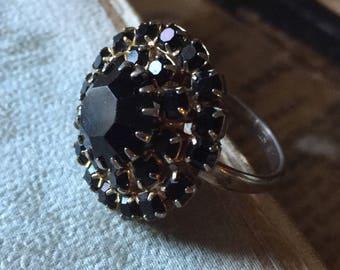 Vintage Midnight Black Rhinestone Round Ring Signed Lisa