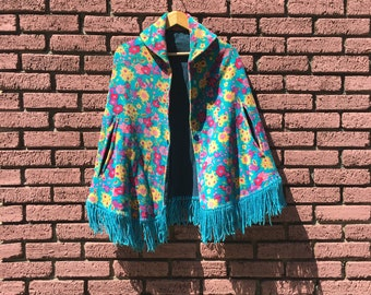 1960s Psychedelic Velveteen Cape with Fringe, Flower Power, Size Small