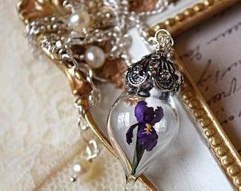 Purple Iris Flower Glass Vial Terrarium Necklace by Woodland Belle