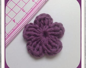Set of 10 tone plum crochet flowers