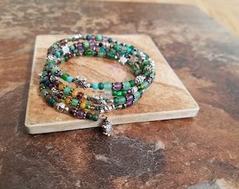 Lucky turtle coil wrap bracelet