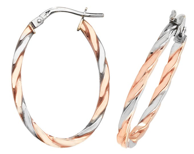 9ct 2 Colour Rose & White Gold Oval Flat Twisted Hoop Earrings