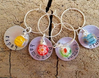 Christmas gift.Wine glass charms.Custom wine glass charms. Wine glass tags. Hostess gift. Housewarming gift. Housewarming party.