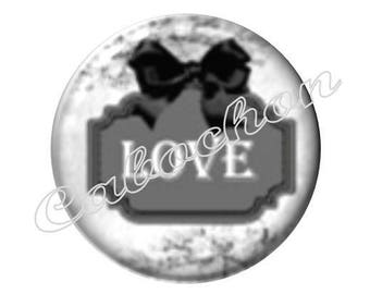 2 cabochons 18mm glass, Love
