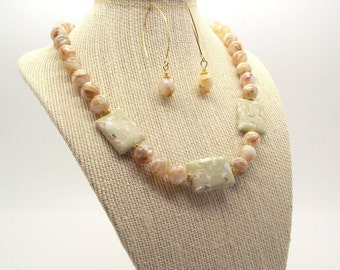 Beautiful Whisper – Mosaic Mother of Pearl Necklace and Earring Set