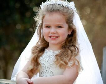 Ellie First Communion Veil - Veil, First Communion, First Communion Headpiece, Communion Headband, Special Occasion Headband, Flower Girl