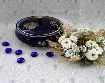 Hollohaza, Cobalt and Gold Round Powder Box, Made in Hungary