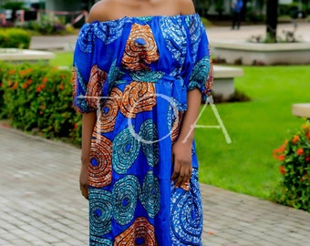 Flowing Ankara Silk Dress, The Ore Dress, Maxi Ankara Dress