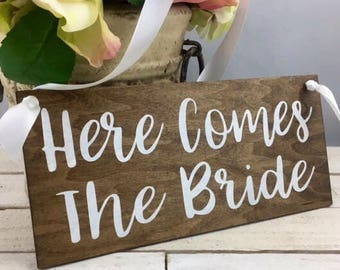 "Here Comes The Bride Sign-Rustic Here Comes The Bride Sign-12""x 5.5"" Wood Sign"
