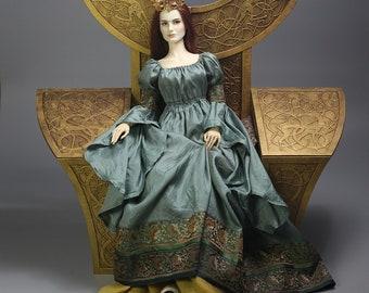 "Steel Green BJD ""Guinevere"" Medieval/Romantic/Fantasy Dress Outfit for 1/3 dolls, fits Soom, Iplehouse, Feeple, etc."