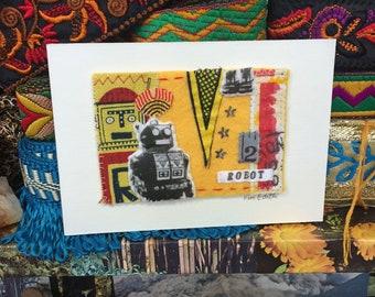 Tiny Robot Textile Collage Artwork