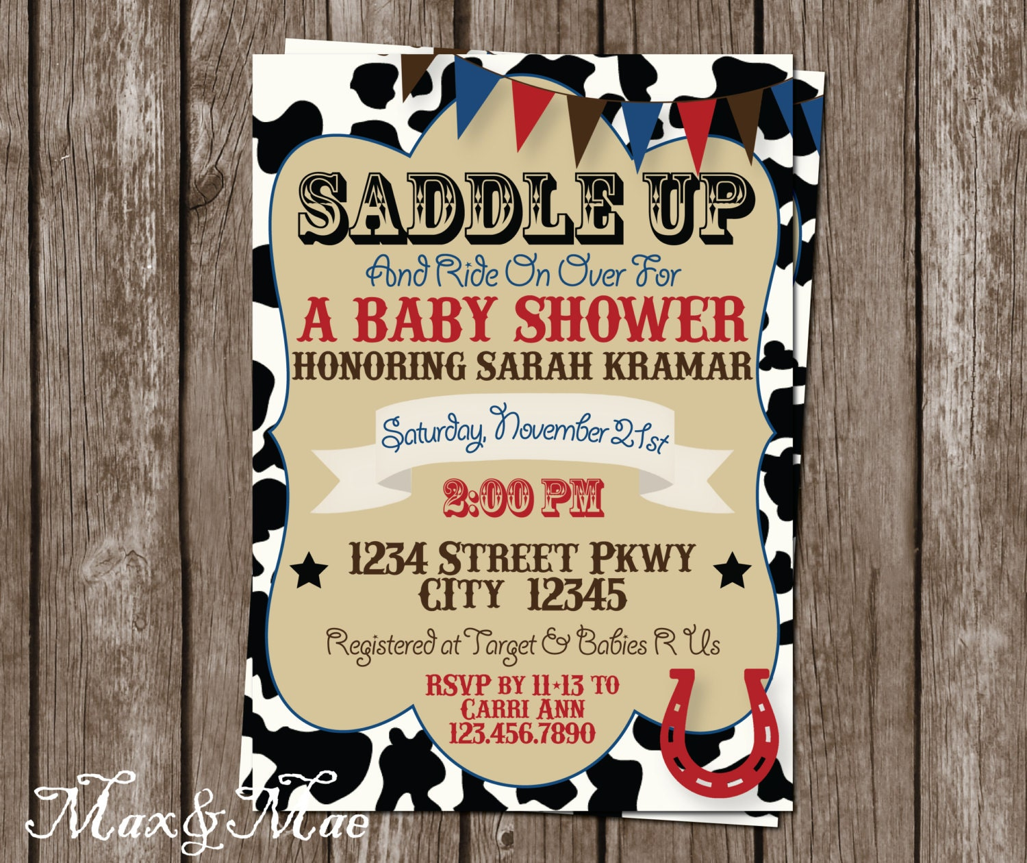 Western Baby Shower Invitation Saddle Up Invite Cowboy Baby