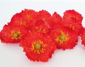 "24 Red Poppies Artificial Flowers Silk Poppy 2.6"" Flower Wedding Anemones Supplies Faux Fake Anemone"