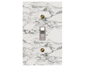 1727x - white marble design (not actual marble) mrs butler switch plate covers - choose sizes / prices from drop down box