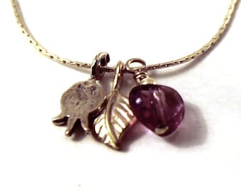 Pomegranate jewelry- Sterling Silver Chain with little pomegranate, leaf and amethyst heart charms -PAHL