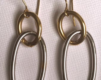 A Pair of 9k White and Yellow Gold Earrings, Chandelier Style, Hoops, Dangle