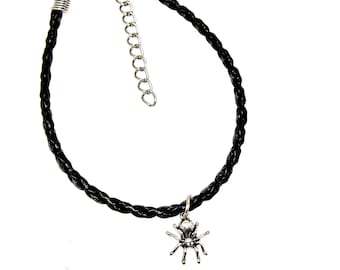 Bracelet or Anklet Adjustable Skull Bead Sterling Silver Pendant Charm Friendship Braided Faux Leather 19 Colors