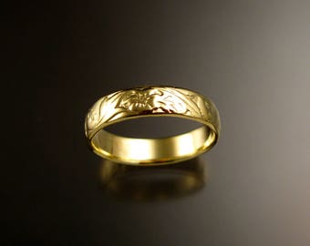 14k Green Gold 4.7mm flower and vine pattern Band wedding ring made to order in your size Victorian wedding band