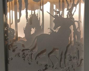 "Papercut, Shadowbox, Dreambox, silhouette, illuminated, ""The last Unicorn"""
