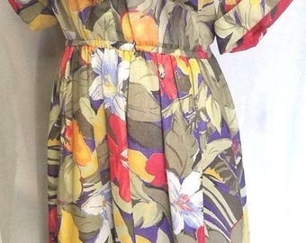 TOP ACT Large Vtg 70's Empire Waste Short Sleeve Long DRESS Floral Button Up