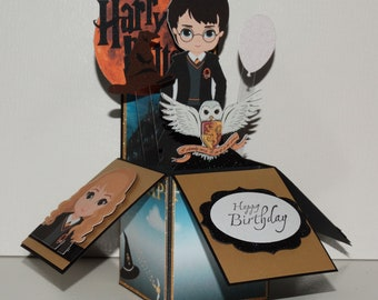 Harry Potter with owl, Happy Birthday handmade 3D pop up greeting card