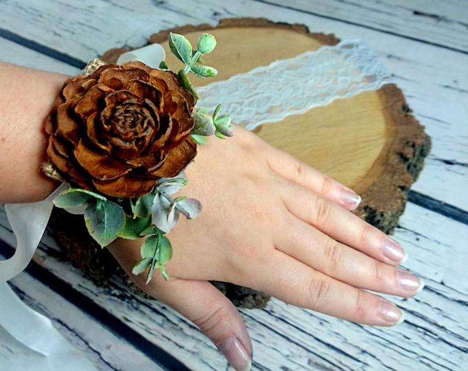 Cedar rose rustic wedding Rustic WRIST CORSAGE bridesmaids Sola Flower fake leaves Wedding Flowers custom