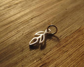 Silver Leaf Charm, Little Sprout Charm, .925 Sterling Silver Charm for Making Jewelry, Charm Bracelet or Necklace (Ch 770)
