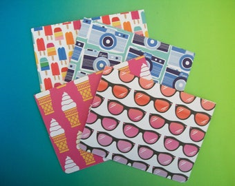 Colorful Whimiscal Notecard Set - 4 Cards Per Set