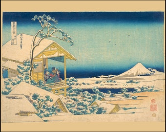 Japanese woodblock -  Morning Snow at Edo - Japanese Art Print - Japanese Wall Art - Vintage Japan  - Mount Fuji - Hokusai - Tokyo - Edo