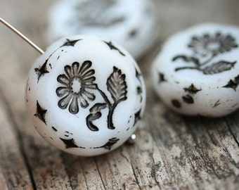 22mm White Flower Focal bead, Black Inlays, Czech glass Round tablet floral Black and White ornament beads - 1pc - 2433