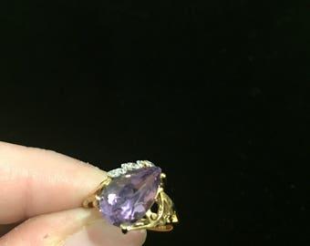 Vintage Amethyst/diamond ring set in 10k gold