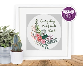 Cross Stitch Pattern | Cross Stitch Chart | Every Day is a Fresh Start Cross Stitch Chart by Peppermint Purple