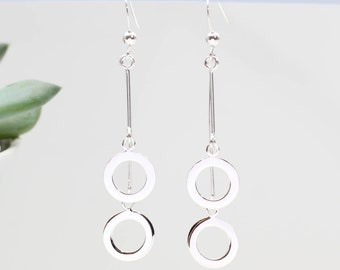 Modern Sterling Silver Double Circle Earrings (HBE113)