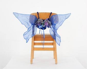 Blue Lilac Fairy Wings, Pixie Wings, Butterfly Wings with flowers for Woodland Wedding, Festivals or Fairy Birthday