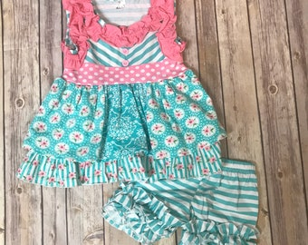 Girls roses and ruffles short set with matching headband