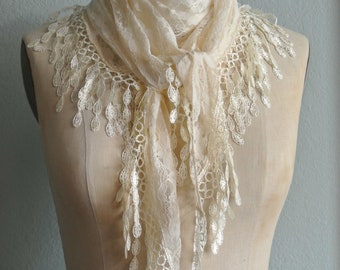 Lace Ivory Scarf, Vintage Look, Triangle Ivory Lace Scarf, Delicate Lace Look, Multiple Ways to tie and Wear, Beautiful By UPcycled Works