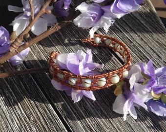 Wire-wrapped copper beaded bracelet, boho, simple, cuff