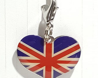 Union Jack Heart Glass Enamel Progress Keeper, British Flag Stitch Marker - 16mm silver lobster clasp finding - PK0058