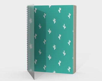 Cactus Spiral Notebook in Turquoise with drawing or sketch paper blank, ruled, graph or bullet journal metal coil, gift for friend