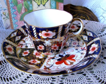 Royal Crown Derby Imari Teacup and Saucer, Cobalt and Orange Antique Tea Cup Set, Circa 1920s, Pattern 2451, English Bone China Imari