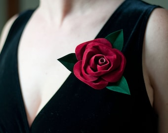 Suede Paper Rose Pin Corsage