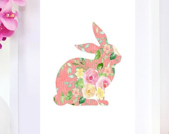 DIGITAL DOWNLOAD, Floral Bunny, Bunny, Easter Bunny, Cute Bunny, Bunny Print, Bunny Art, Cute, Floral, Easter, Bunny Printable, Pink, Girl