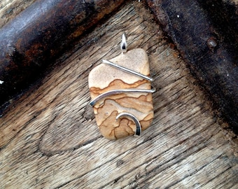 Picture sandstone in polished sterling silver