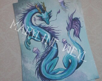 Postcard Dragon Chinese blue card