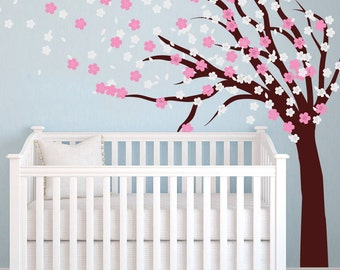 Tree Wall Decals Nursery - Cherry Blossom Tree Large Vinyl Kids Tree Blowing In The Wind Transfer Stencil Flowers