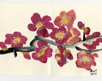 Original Brush Painting Pink Cherry Blossom Greeting Card