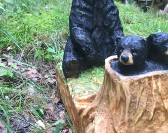 Bears, Wood Carving, Chainsaw Carving by Josh Carte, Wood Art, Hand Carved, Perfect Wood Gift, Gift for Mom, Kitchen Table Art, Rustic Decor