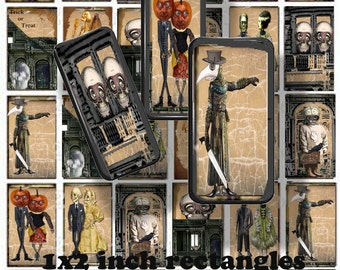 printable Halloween collage sheet Dominoes craft skull sheet 1x2 inch rectangles of gothic steampunk images