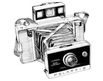 A3 Print Polaroid Land Vintage Camera